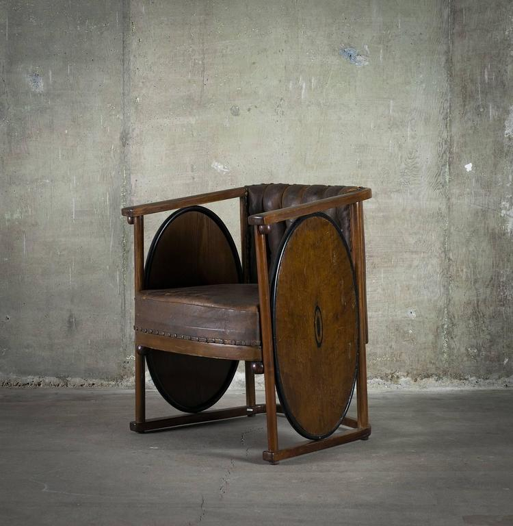 Vienna Secession Kolomon Moser or Josef Hoffman Armchair Beechwood, Marquetry and Leather, 1907 For Sale