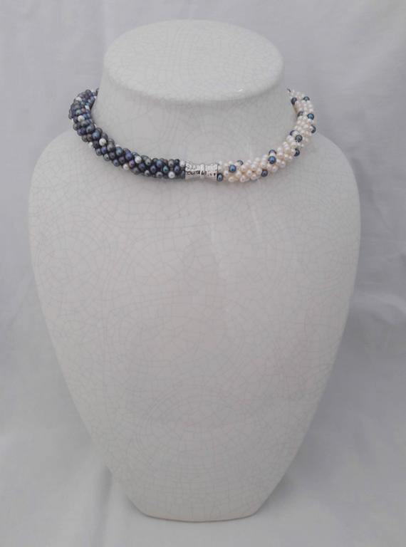 Women's or Men's Marina J. Black and White Pearl Rope Necklace / 2 bracelets with Sterling Silver For Sale