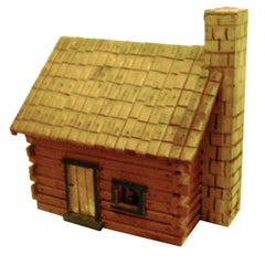 Charming Folk Art Model of Log Cabin