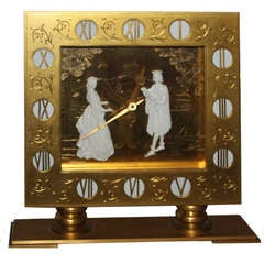A Fine and Monumental Gubelin  Gilt Bronze and Ivory Clock