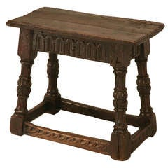 Original 17th C Antique English Oak Bench Or Stool With