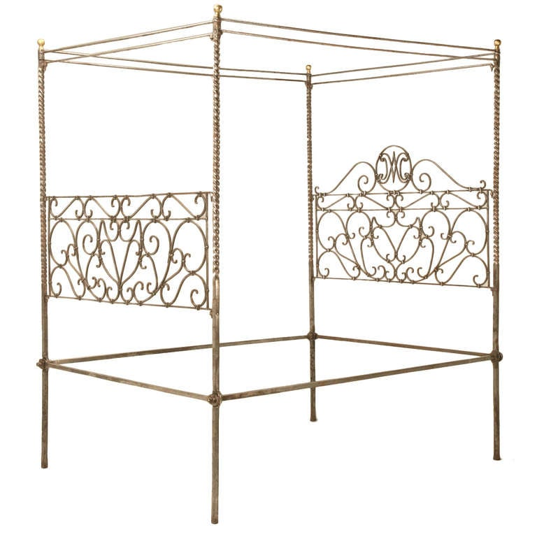 Circa 1880 French Hand Forged Iron Canopy Bed with Twists and Brass Finials For Sale