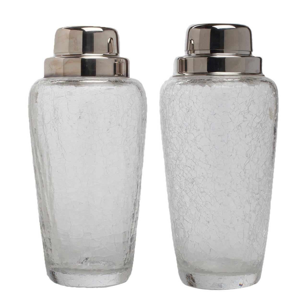 Pair of silver-plated crackle glasscocktail shakers, 1950