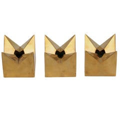Brass Star Candleholders by Pierre Forsell for Skultuna