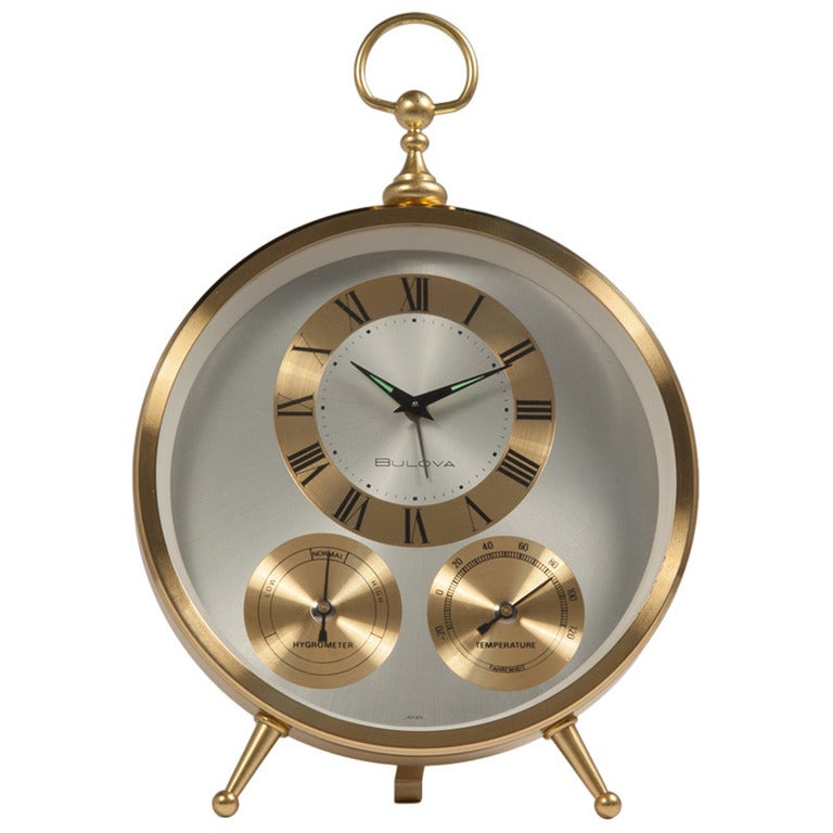 Mid Century Brass Clock By Bulova At 1stdibs