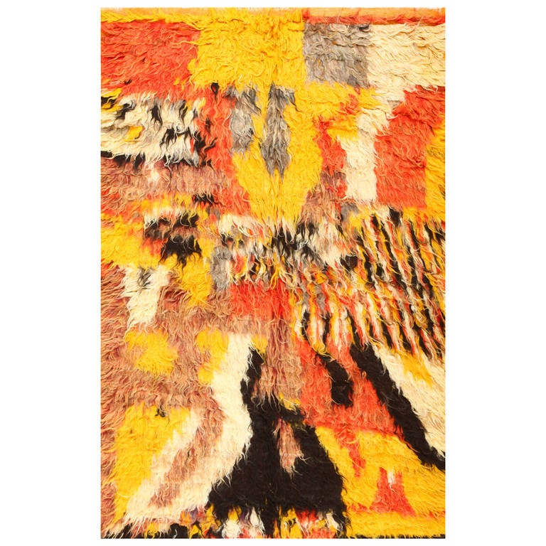 Moroccan Boucherouite Rug For Sale At 1stdibs: Vintage Moroccan Shag Rug For Sale At 1stdibs