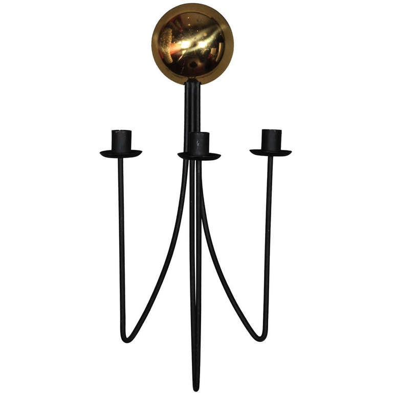 Wall Iron Candle Sconces : Iron and Brass Wall Candle Sconce at 1stdibs