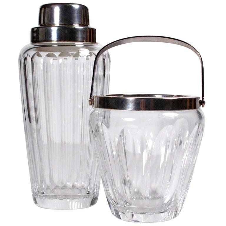 Crystal And Silver Cocktail Shaker And Ice Bucket At 1stdibs