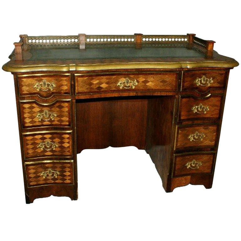 19th c. Louis XV/XVI Kingwood and Satinwood Kneehole Desk