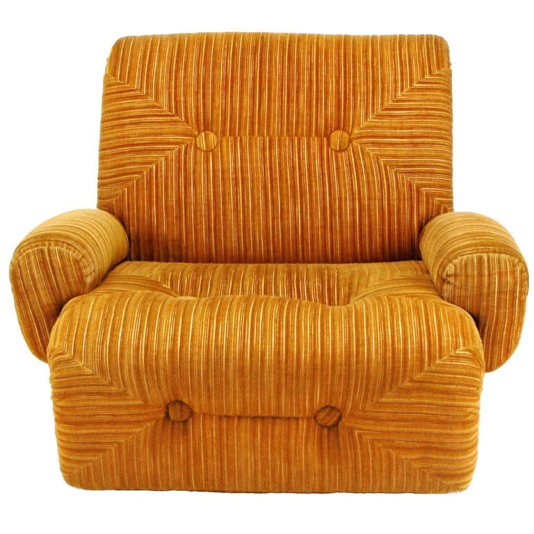 Art Deco Revival Club Chair In Orange Striped Cut Velvet For Sale