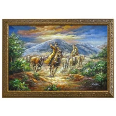 Western Painting Oil on Canvas, Scene of a Roundup, Late 20th Century
