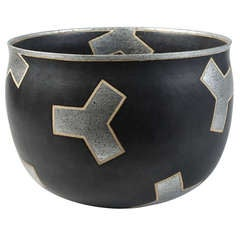An Important Black Stoneware Cup with Silver Decoration