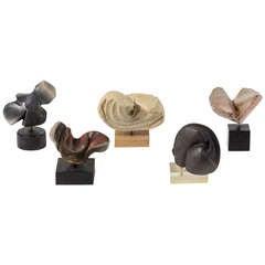 Unique Set of Five Stoneware Sculptures by Elisabeth Joulia