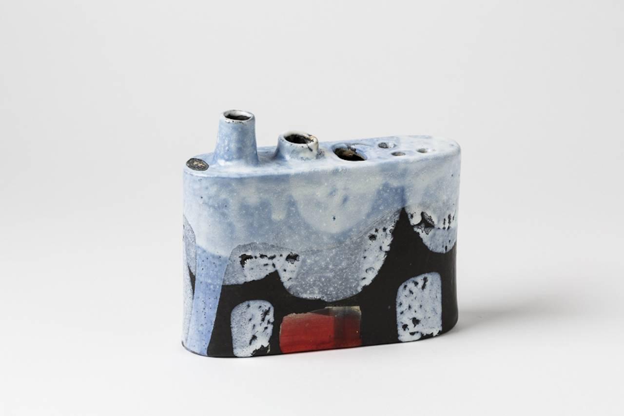 A rare ceramic vase by Klaus Schultz. Unreadable glaze signature under the base, circa 1960-1970.