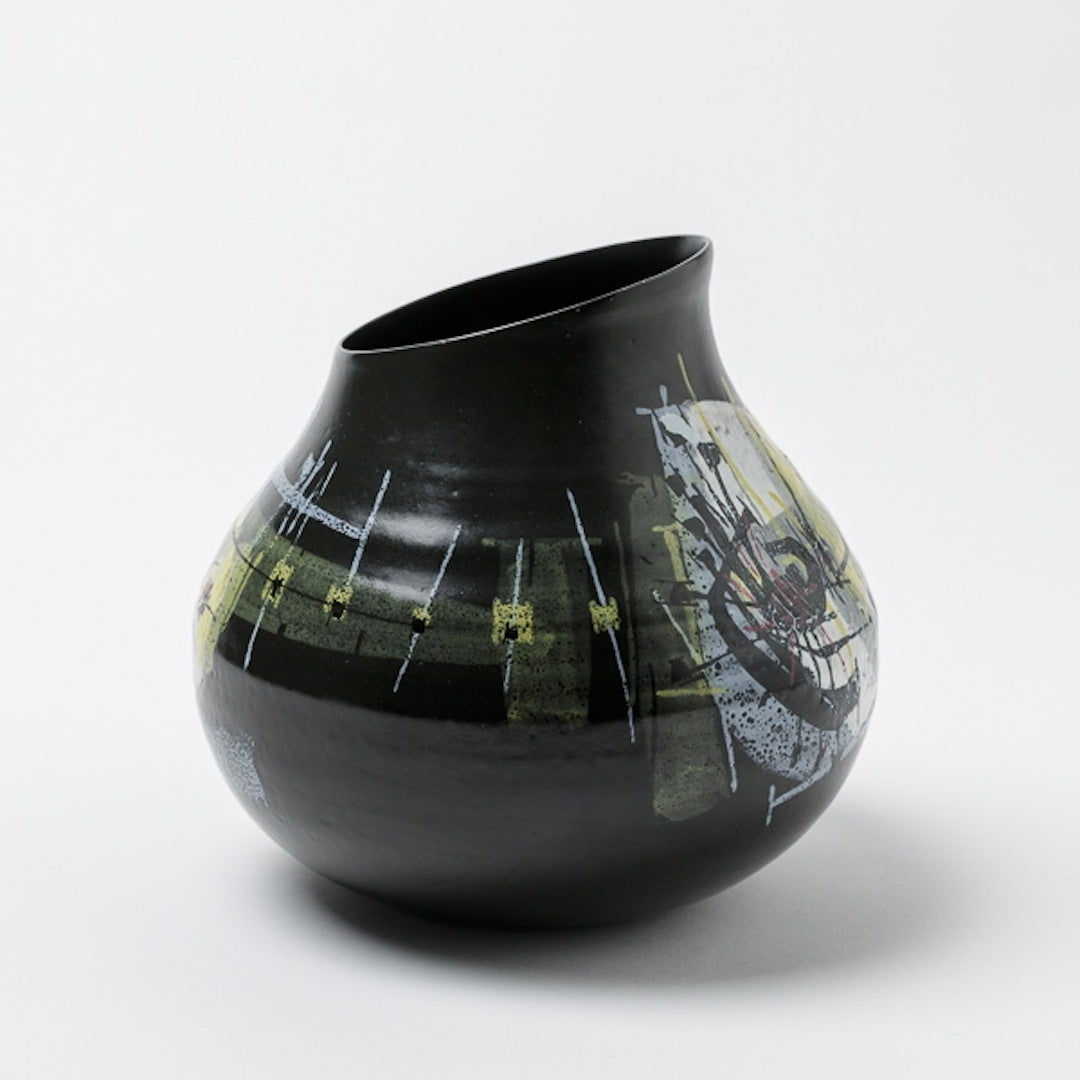 unique and rare earthenware vase by robert deblander for