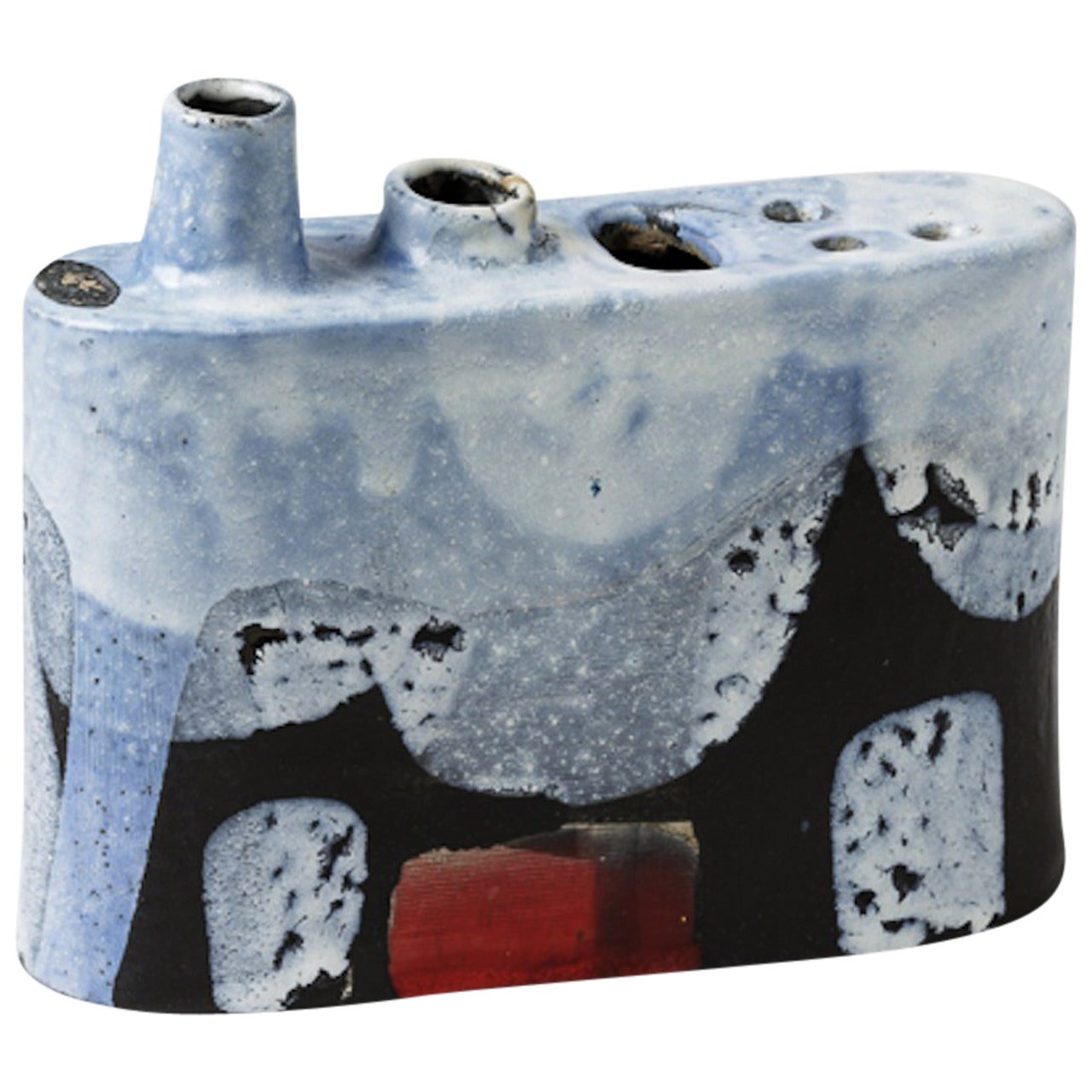 blue and red abstract Ceramic  sculpture Vase by Klaus Schultz, Germany