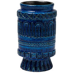 Ceramic Vase with Blue Glaze Decoration by Pol Chambost, France, circa 1950