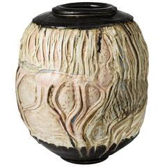 Important Stoneware Vase by Georges Sybesma, La Borne
