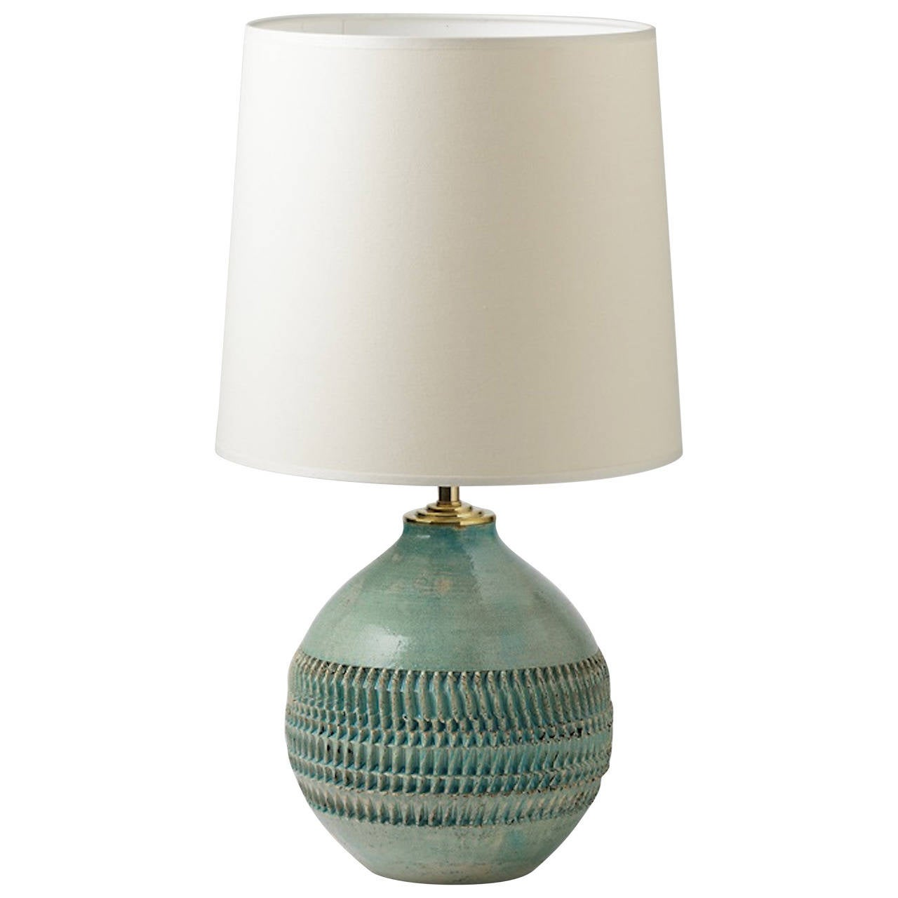 Elegant Turquoise Blue Ceramic Lamp by Dubray, circa 1930-1940 at ...