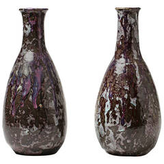 Stoneware Pair of Vases by Eugene Lion, Jean Carries School
