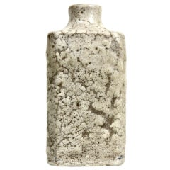 Rare square stoneware bottle by Emile Decoeur
