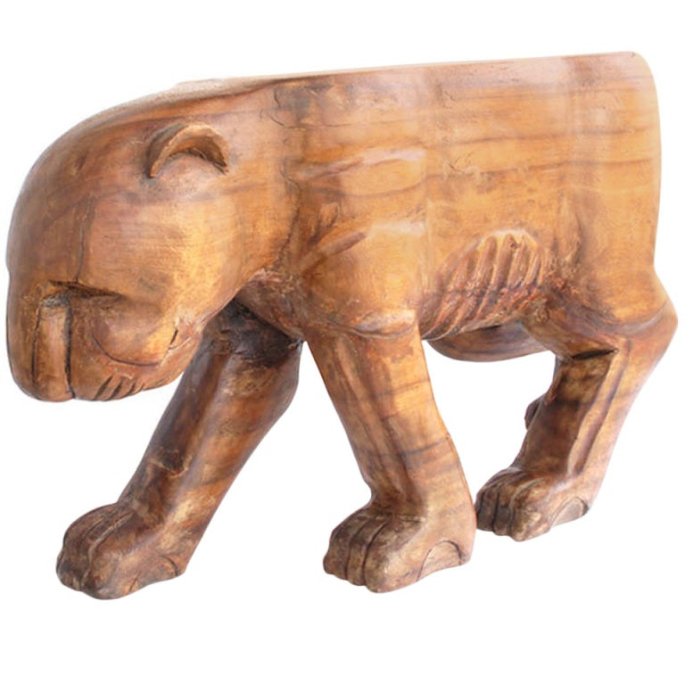 Mid Century Jaguar Coffee Table Stand Solid Carved Wood At