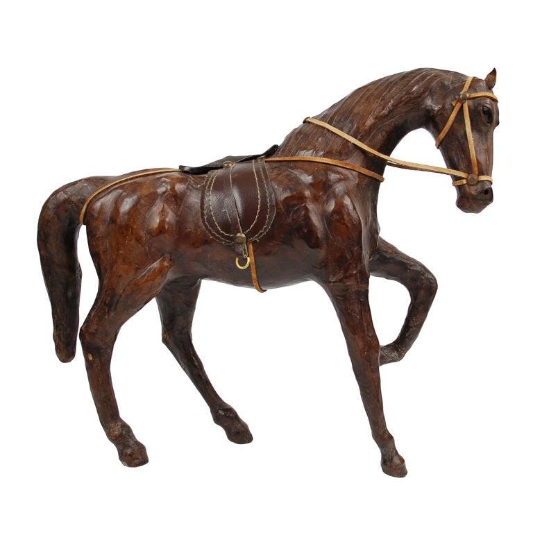 Vintage Leather Horse Sculpture At 1stdibs