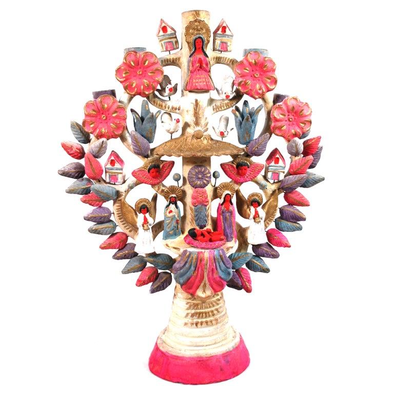 Mid Century Xmas Mexican Ceramic Tree Of Life At 1stdibs