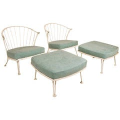 Pair of Marc du Plantier Iron Armchairs with Ottomans, circa 1950, France