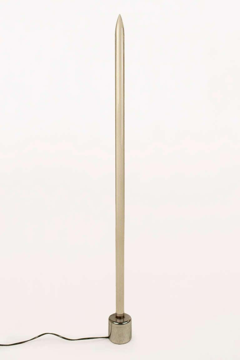 Obelisk table lamp, circa 1970, France.  Plexiglass and chrome.  Excellent vintage condition.
