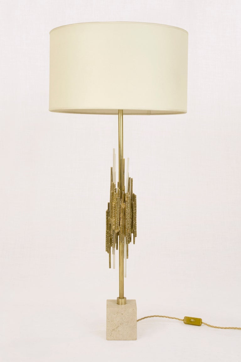 Pair of Brutalist lamps by Angelo Brotto.