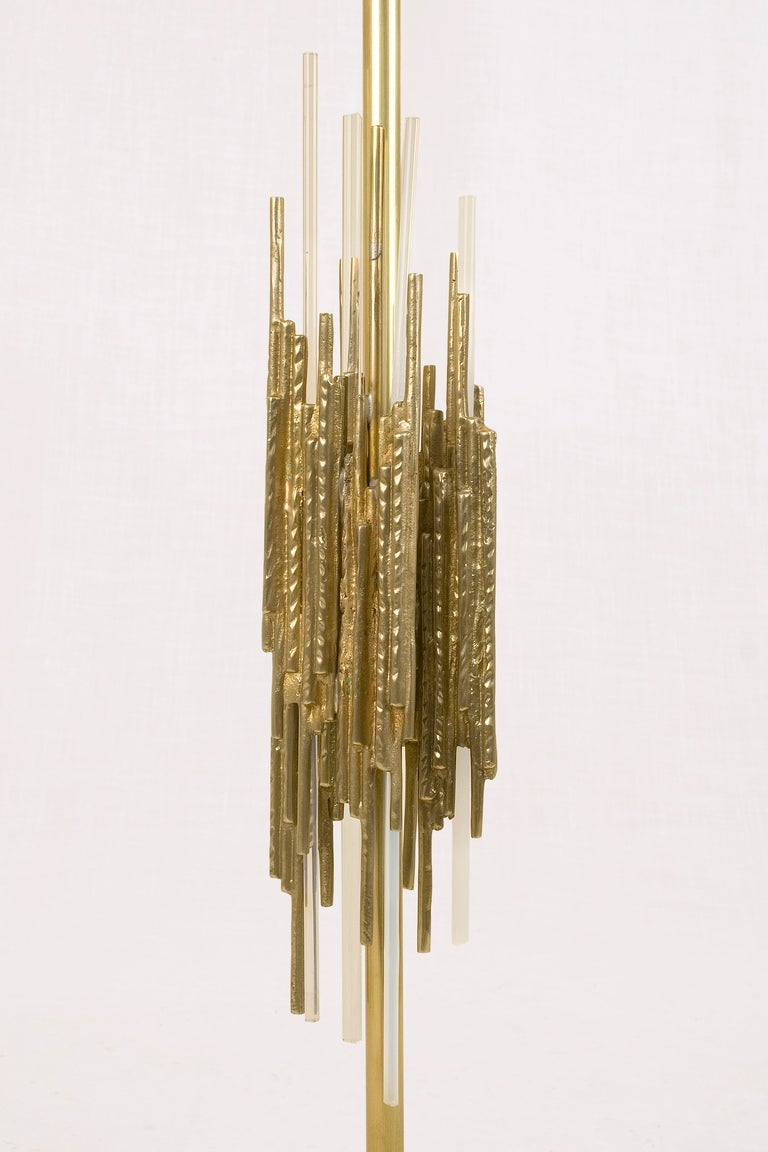 Italian Pair of Brutalist Lamps by Angelo Brotto, circa 1970, Italy For Sale