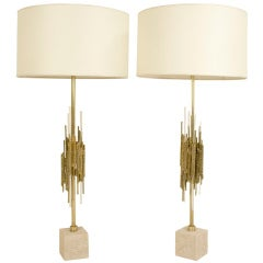 Pair of Brutalist Lamps by Angelo Brotto, circa 1970, Italy