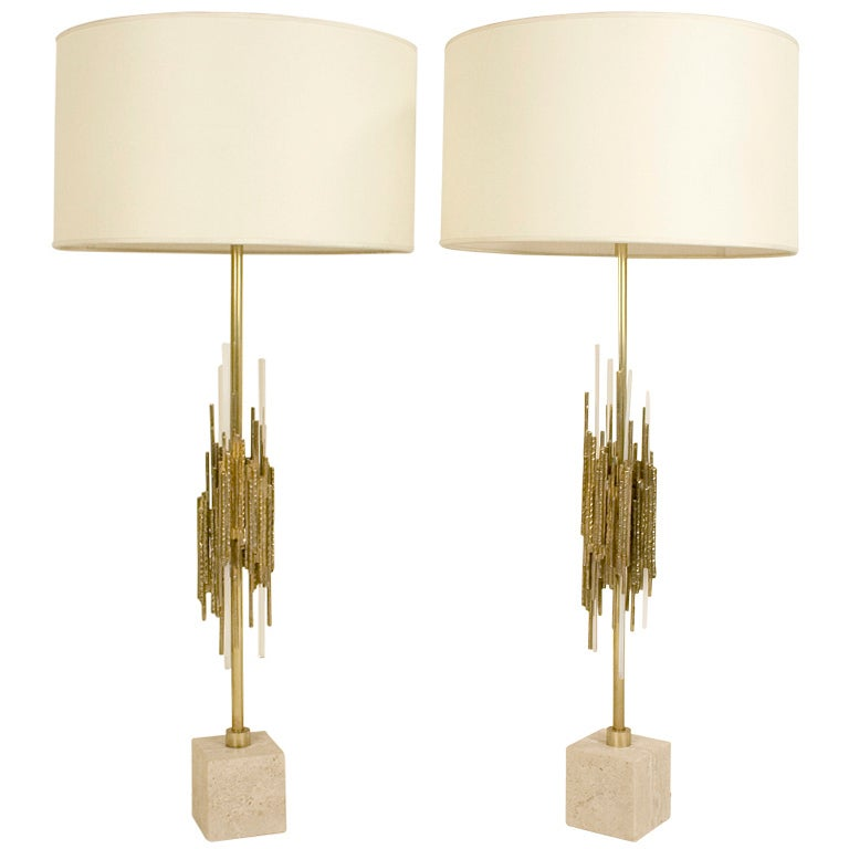 Pair of Brutalist Lamps by Angelo Brotto, circa 1970, Italy For Sale