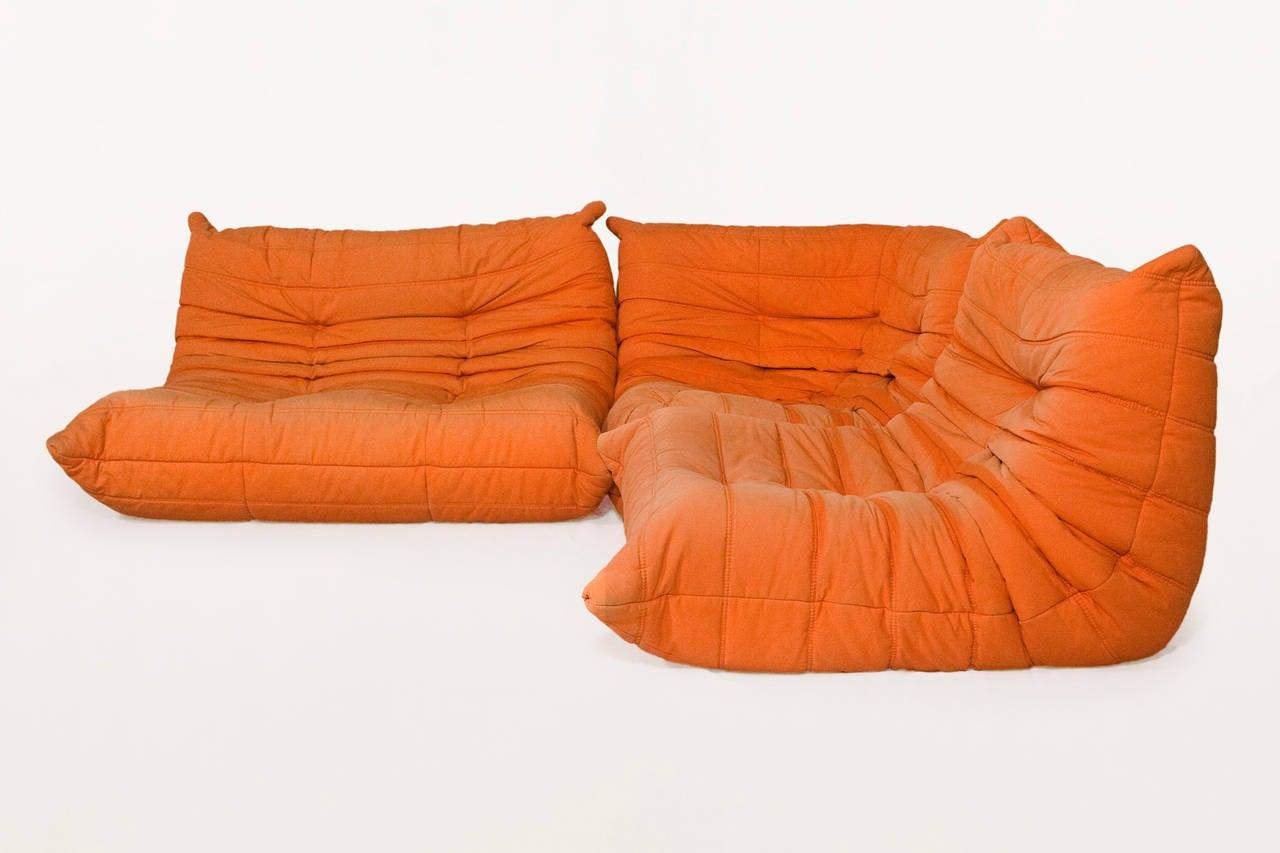 original orange ligne roset togo modular corner sofa france circa 1970 at 1stdibs. Black Bedroom Furniture Sets. Home Design Ideas