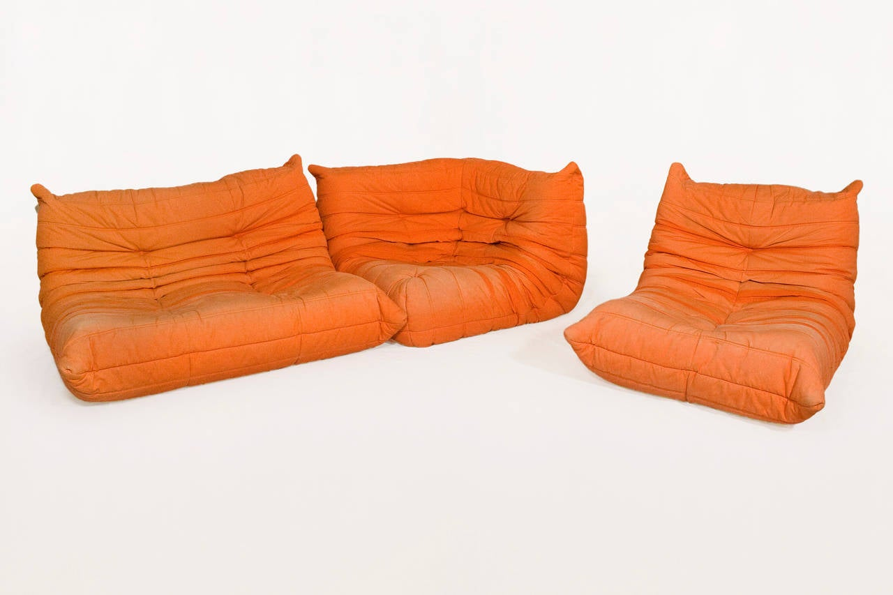 Original Orange Ligne Roset Togo Modular Corner Sofa