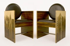 Pair of CeM. Thiauy Armchairs, circa 1980, USA