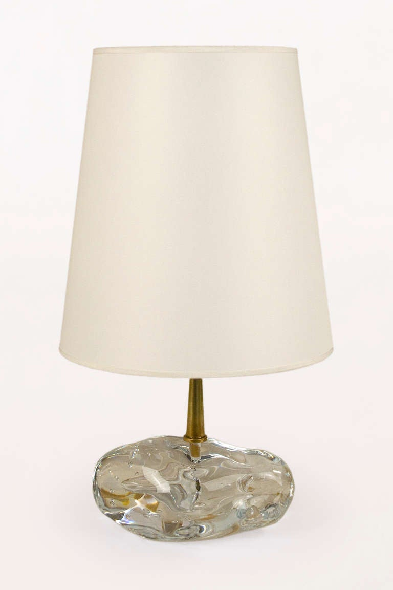 20th Century Pair of Murano Crystal Table Lamps by Angelo Brotto, circa 1980, Italy For Sale