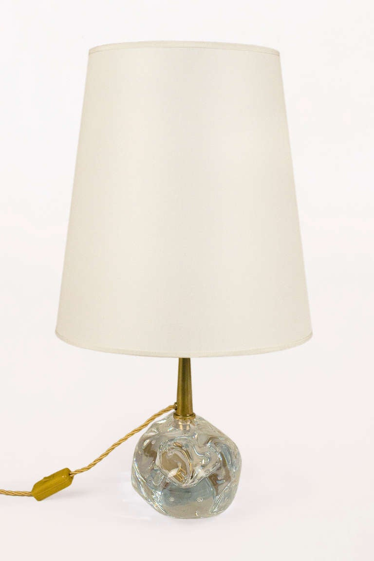 Mid-Century Modern Pair of Murano Crystal Table Lamps by Angelo Brotto, circa 1980, Italy For Sale