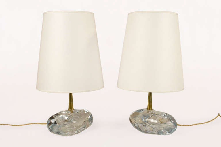 Pair of Murano crystal table lamps by Angelo Brotto Designed for Esperia Lighting, Italy Brass and solid glass. Italy, circa 1980 Very good vintage condition.