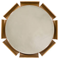 Stylized Round Mirror by ISA, Italy, circa 1970