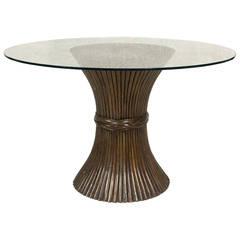 Circular Faux Reed Dining Table  circa 1970 Italy