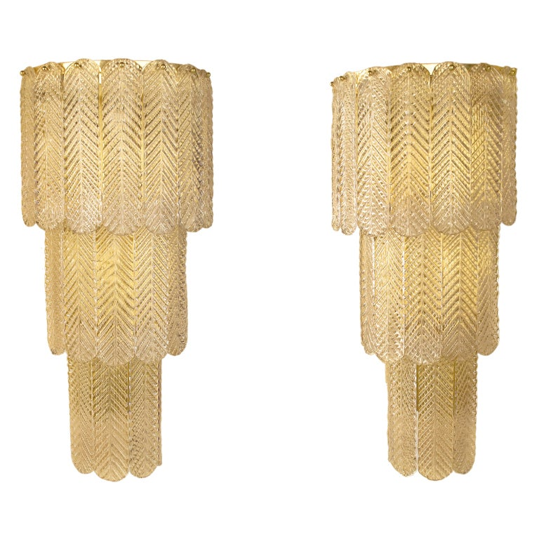 Venetian Wall Sconces : Pair of Venetian Glass Sconces at 1stdibs