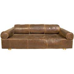 Marzio Cecchi Leather Sofa, circa 1970, Italy