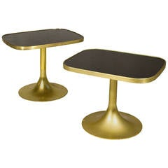 Set of 2 Brass Side Tables, circa 1970, France