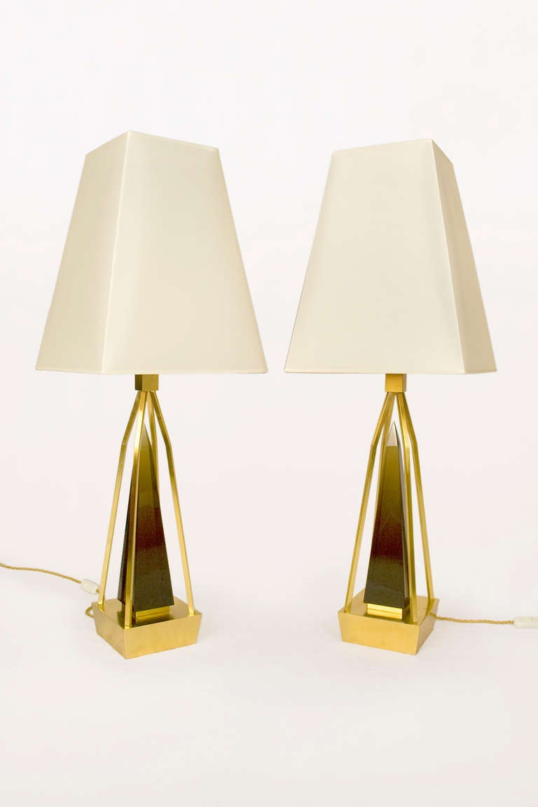 Pair of table lamps by Roberto Giulio Rida Italy circa 2000 Smoked glass and brass Excellent condition Unique pieces