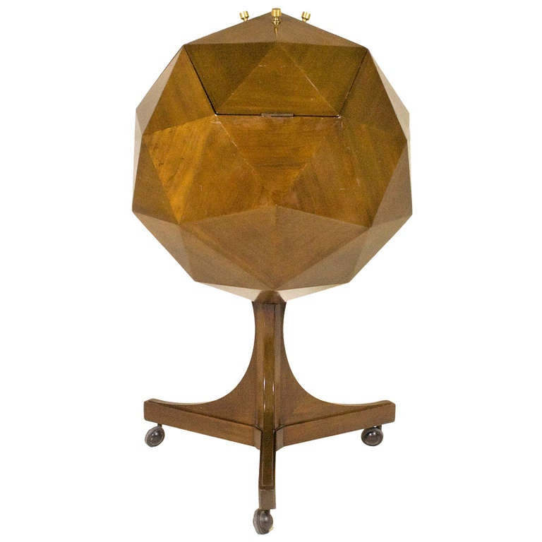 Ico Parisi Attributed Polyhedron Mahogany Bar For Sale
