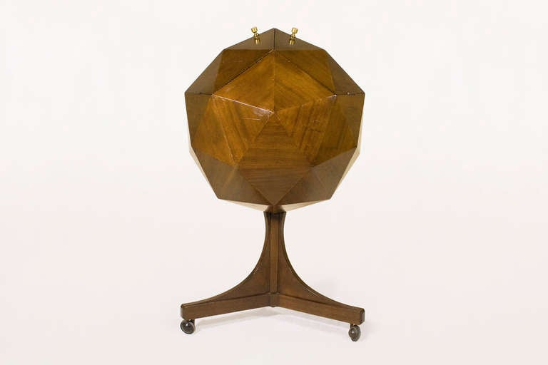 Ico Parisi Attributed Polyhedron Mahogany Bar For Sale 1
