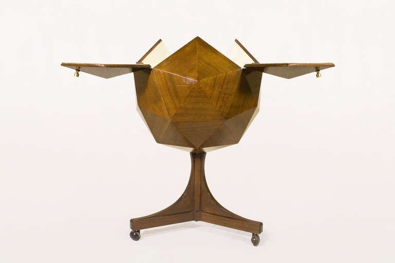 Mid-Century Modern Ico Parisi Attributed Polyhedron Mahogany Bar For Sale
