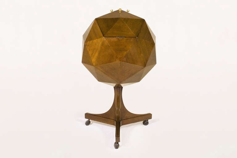 Ico Parisi (attributed) rolling polyhedron mahogany bar.